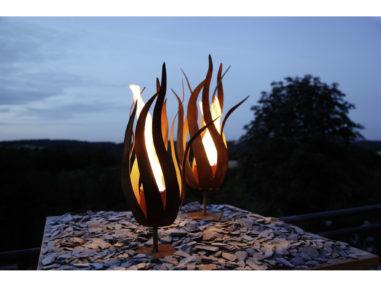 """Feuerblume """"Fiamma"""" auf Platte - rost, H50cm, Gartendekoration"""